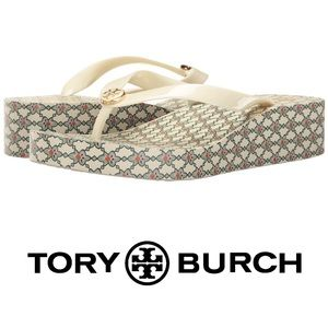 TORY BURCH ivory/green Wedge thong Flip Flop
